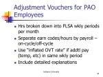 adjustment vouchers for pao employees