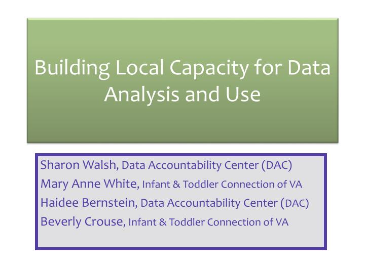 building local capacity for data analysis and use n.