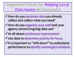 important points for helping local data teams be successful