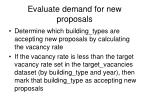 evaluate demand for new proposals