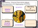 facilitating channel specialists adjust discrepancies with regrouping activities