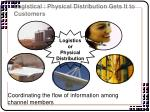 logistical physical distribution gets it to customers