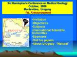 3rd hemispheric conference on medical geology october 2009 montevideo uruguay 1st announcement