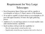 requirement for very large telescopes