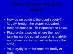 plato s concern the good society