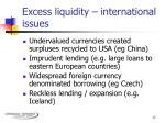 excess liquidity international issues