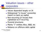 valuation issues other corporates