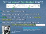 electron spin and fine structure cont d5