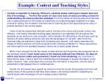example context and teaching styles