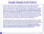 example empathy for the workers