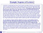 example sequence of lectures