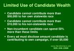 limited use of candidate wealth