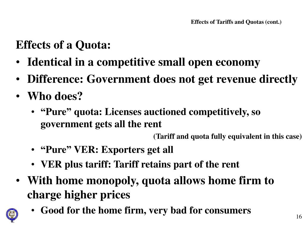 Effects of Tariffs and Quotas (cont.)