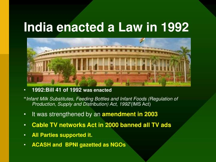 India enacted a law in 1992