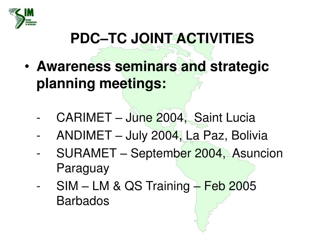 PDC–TC JOINT ACTIVITIES