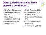 other jurisdictions who have started a continuum