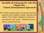 benefits of infusing mi into the classroom talent development approach