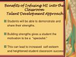 benefits of infusing mi into the classroom talent development approach1
