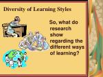 diversity of learning styles