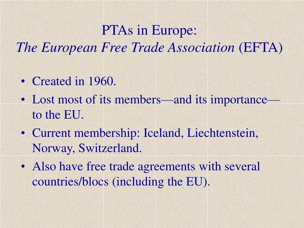 PTAs in Europe: