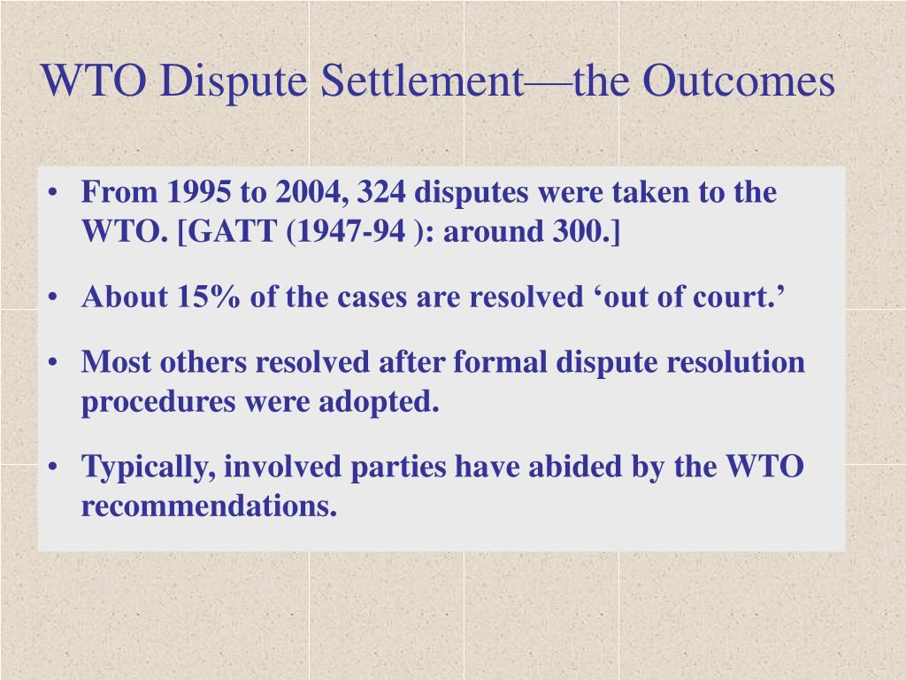 WTO Dispute Settlement—the Outcomes