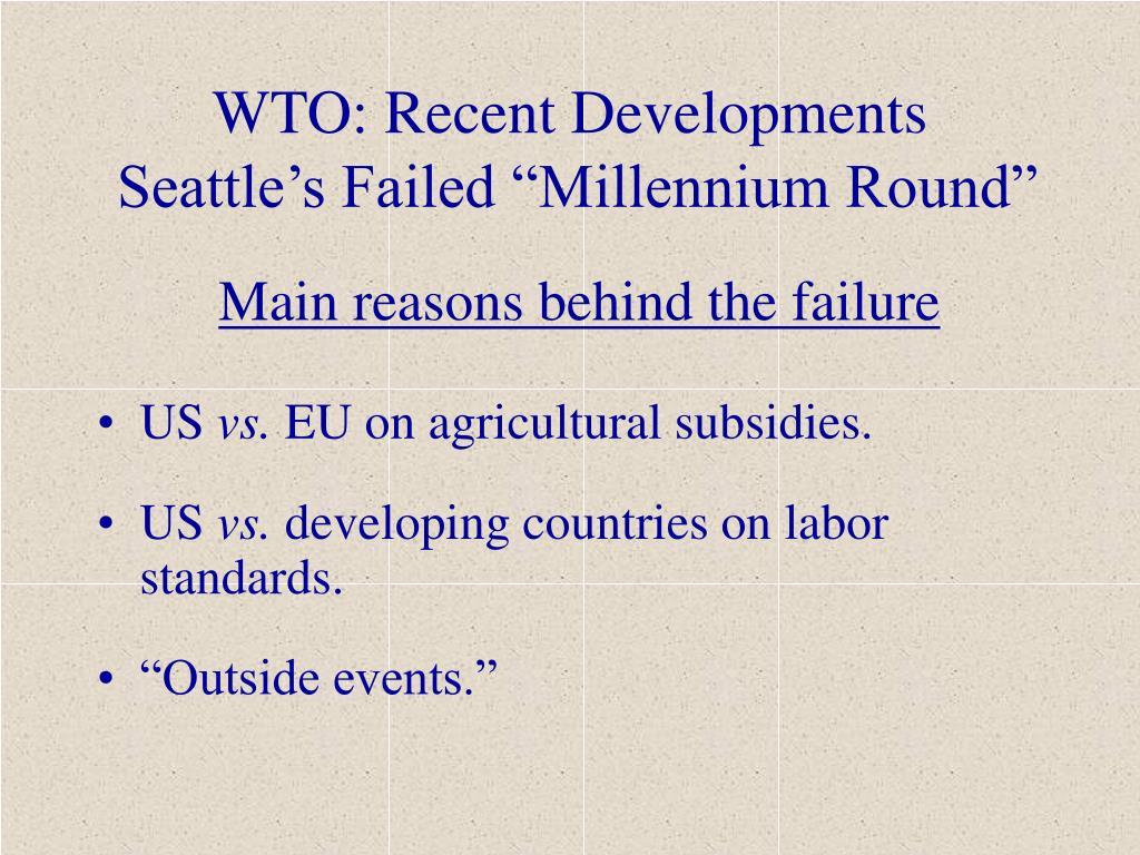 WTO: Recent Developments