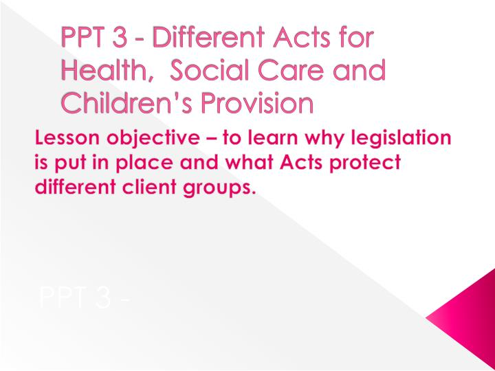 ppt 3 different acts for health social care and children s provision n.