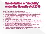 the definition of disability under the equality act 2010