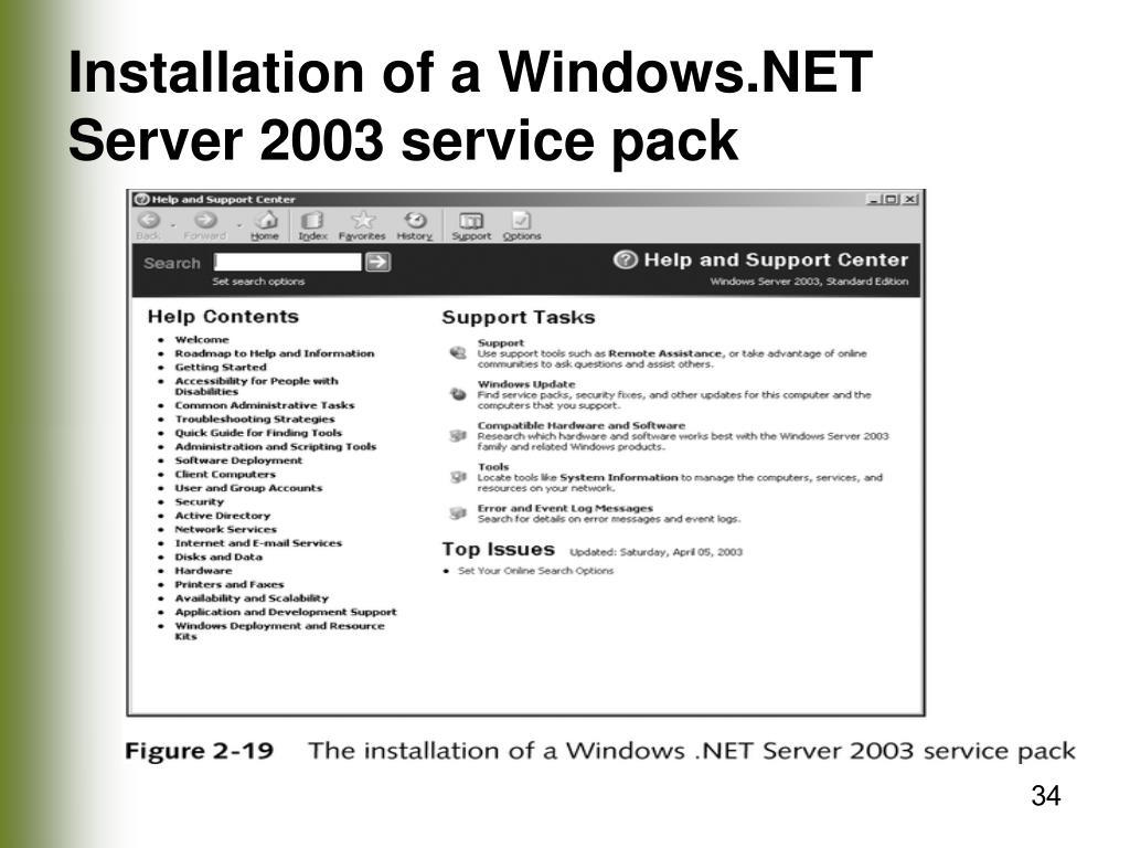 Installation of a Windows.NET Server 2003 service pack