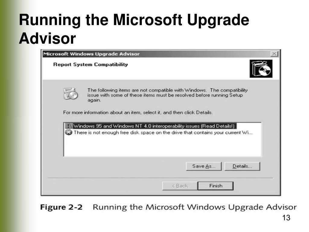 Running the Microsoft Upgrade Advisor