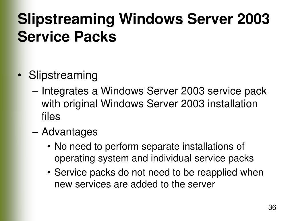 Slipstreaming Windows Server 2003 Service Packs