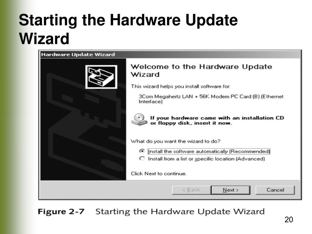 Starting the Hardware Update Wizard