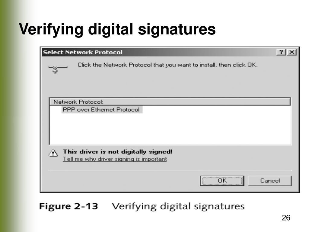 Verifying digital signatures