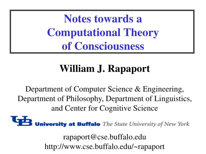 notes towards a computational theory of consciousness n.