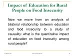 impact of education for rural people on food insecurity
