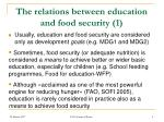 the relations between education and food security 1