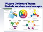 picture dictionary boxes illustrate vocabulary and concepts1