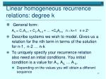 linear homogeneous recurrence relations degree k1
