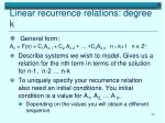 linear recurrence relations degree k