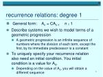 recurrence relations degree 1