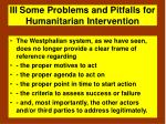 iii some problems and pitfalls for humanitarian intervention