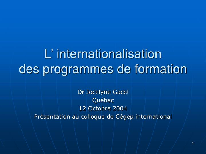 l internationalisation des programmes de formation n.