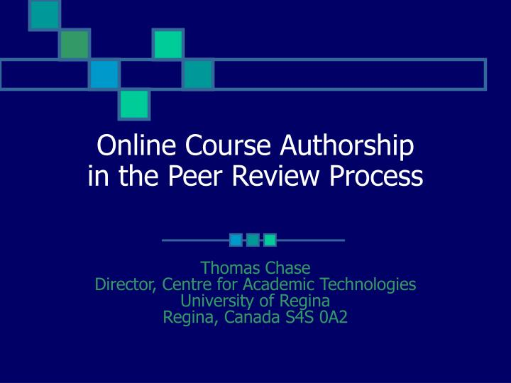 online course authorship in the peer review process n.