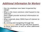 additional information for workers