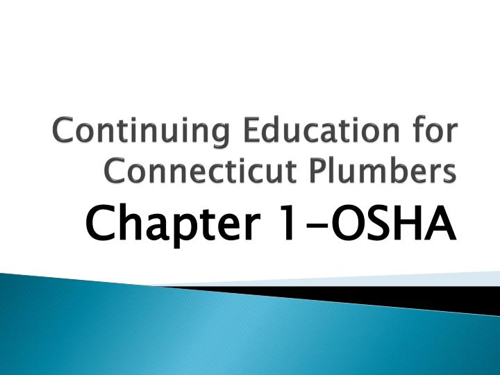 continuing education for connecticut plumbers n.