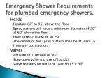 emergency shower requirements for plumbed emergency showers
