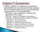 subpart p excavations