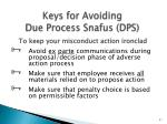 keys for avoiding due process snafus dps
