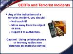 certs and terrorist incidents