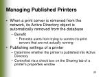 managing published printers